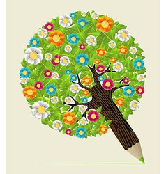 Flower leaves concept pencil tree vector