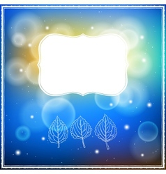 Card with three leaves and frame on bokeh lights vector