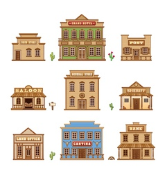 Wild west buildings vector