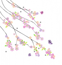 Abstract branches with flowers vector