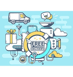 Mechanism free delivery and relevant icon vector
