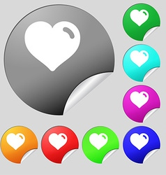 Heart love icon sign set of eight multi-colored vector