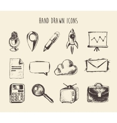 Collection hand drawn doodle network icons sketch vector