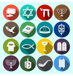 Judaism icons set flat vector
