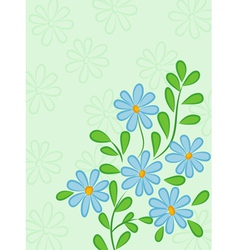 Green abstract background with blue daisies retro vector