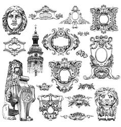 Sketch calligraphic drawing of heraldic design vector