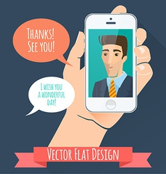 Phone conversation flat style vector