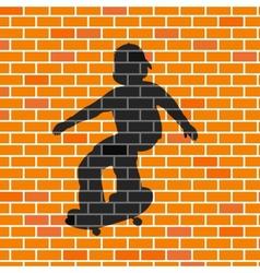 Skater shadow in brick wall vector