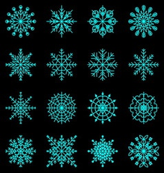 Create snowflake icons on black background vector