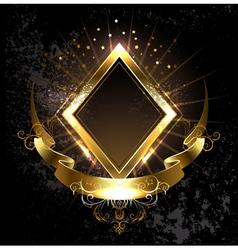 Gold banner rhombus vector