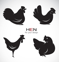 Group of hen design vector