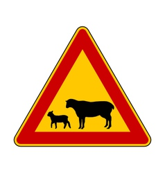 Sheep flock warning sign vector