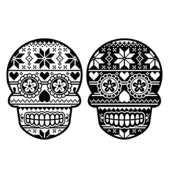 Mexican black sugar skull with winter pettern vector