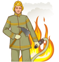 Firefighter with fire hose and axe against a fire vector