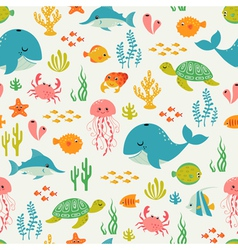 Cute underwater life pattern vector