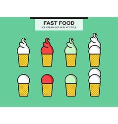 Ice cream set in flat style vector