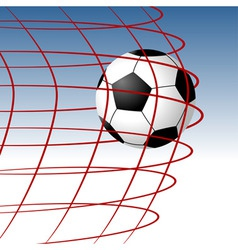 Soccer ball entering the goal and hitting the net vector