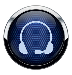 Blue honeycomb headset icon vector
