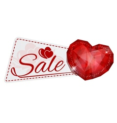 Sale sticker with gem heart vector