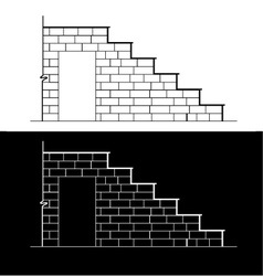 Drawing of a brick stair with stone or marble slab vector