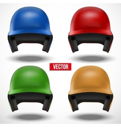 Set of multicolor baseball helmets front view vector