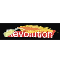 Revolution grunge scratched logo on black vector