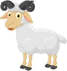 Cute cartoon sheep character vector