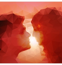 Loving couple kissing at sunset beautiful vector