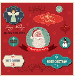 Christmas labels elements vector