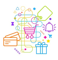 Symbols of shopping on abstract colorful light vector