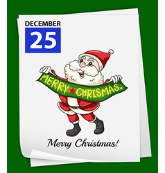 A calendar showing the 25th of december vector