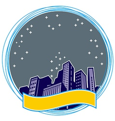 Retro night city icon vector