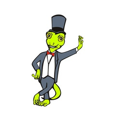 Cartoon gecko with top hat bow tie tuxedo standing vector
