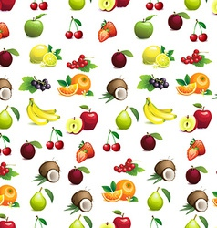 Seamless pattern of different fruits with leaves vector