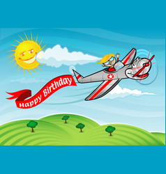 Happy birthday airplane vector