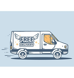 Van free and fast delivering goods to cus vector