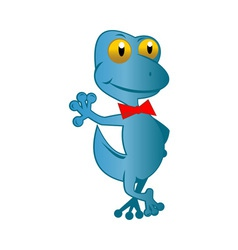 Cartoon gecko with top hat and bow tie standing vector