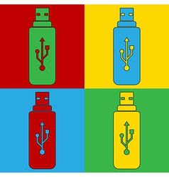 Pop art usb icons vector