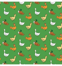 Funny seamless pattern with geese ducks cocks vector