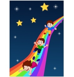 Kids sliding down a rainbow vector