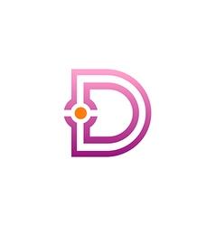 D letter initial spot line logo vector