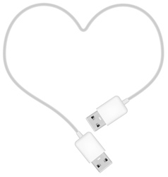 Heart shaped usb cable vector