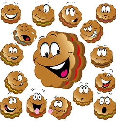 Sweet christmas cookies with funny faces vector
