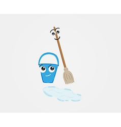 Broom and pail with water on the floor vector