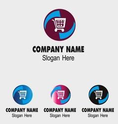 Shopping cart logo design vector