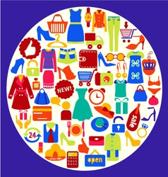 Shopping related icons vector