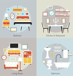 Furniture in bedroom restaurant bathroom living vector