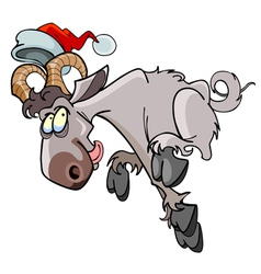 Cartoon sheep jumping in the hat of santa claus vector