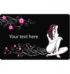 Card with flowers and girl vector