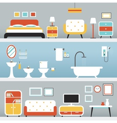 Furniture in bedroom bathroom living room vector